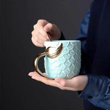420ML mermaid coffee mugs beauty glazed tea cups and mugs with gold handle creative ceramic mark drinkware
