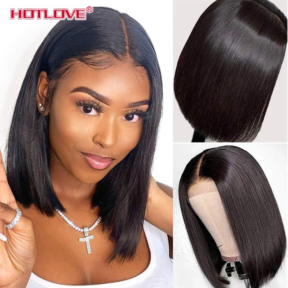 Short Bob Wig Bone Straight Human Hair Wigs for Black Women Pre-Plucked 5x5x1 Closure Wig Brazilian Hair Lace Wigs 150% Denisty