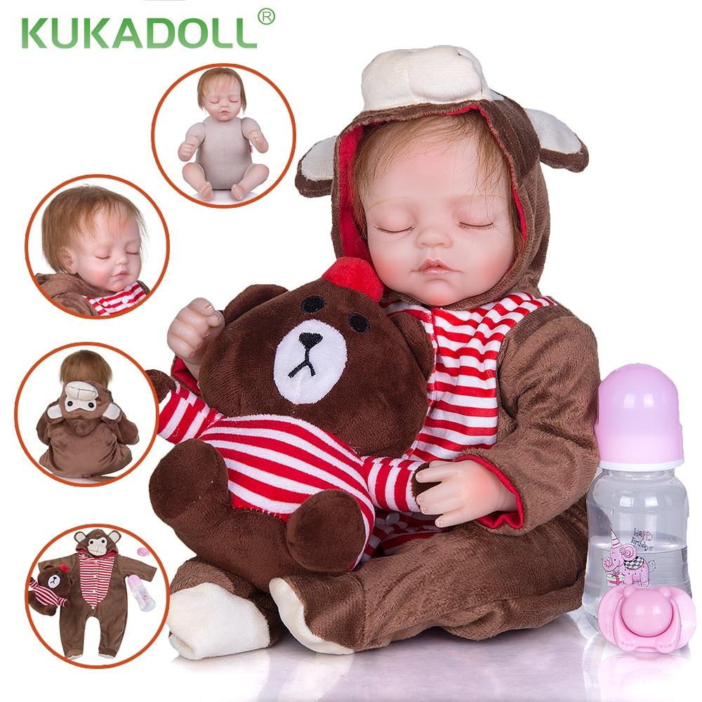 KUKADOLL Reborn Babies Dolls 42 CM Soft Cloth Body Stuffed Lifelike Girl Toddlers Toy Boneca Menina For Children Birthday  Gifts