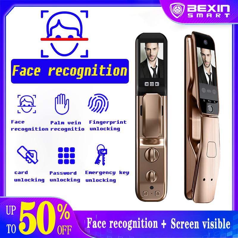 Get Smart face Fingerprint Door Lock Security face & camera monitor Intelligent Lock Biometric Electronic Door Lock With APP Unlock