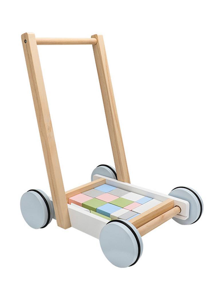 Wysokiej jakości 2 In1 wózek dziecięcy drewniane dziecko nauka Walker bloki i rolki wózek Push Toy Walking niemowlę Trolleying