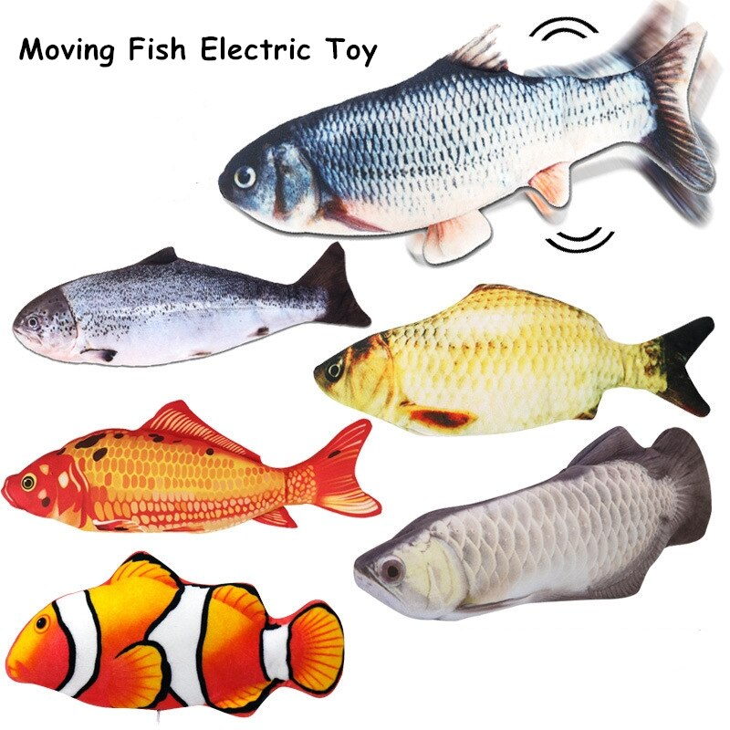 1Pcs Realistic Plush Electric Moving Fish Toy For Cat Interactive Cat Chew Bite Toys For Kitty Kitten Fish Flop Cat Wagging Toys