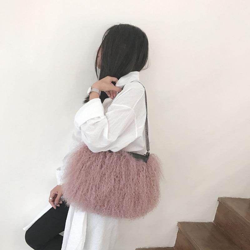 2021 New Fashion Fur Handbag Ladies Soft Casual Beach Wool One-Shoulder Messenger Bag Fluffy Female Handbag