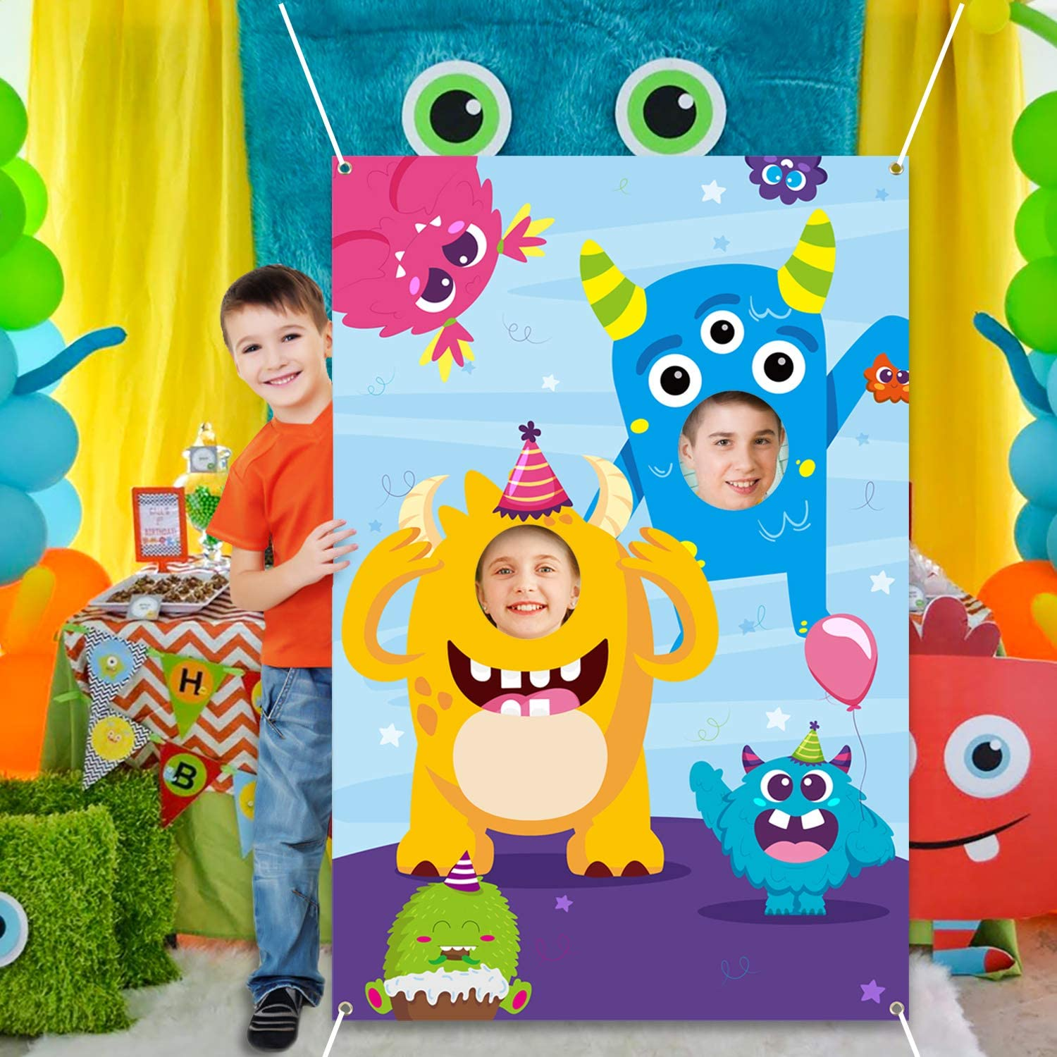 Monster Door Banner Large Polyester Monster Face Photo Banner Background Pretend Play Party Game Backdrop Prop Poster