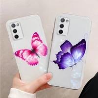 beauty butterfly phone case for xiaomi mi 11 ultra lite 10 redmi note 9 8 7 9a k30s k40 pro transparent coque