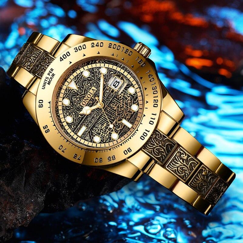 Relógios de Ouro Marca Onola Clássico Moda Luxo Retro Aço Inoxidável Relógio Masculino Alta Qualidade