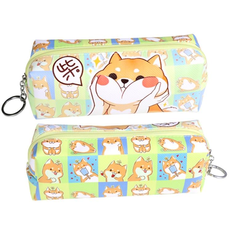 Shiba Inu Cute Cat Anime Gintama Sword Art Online Student Pen Bag PU Cartoon Kawaii Unisex Coin Purse School Supplies Stationery