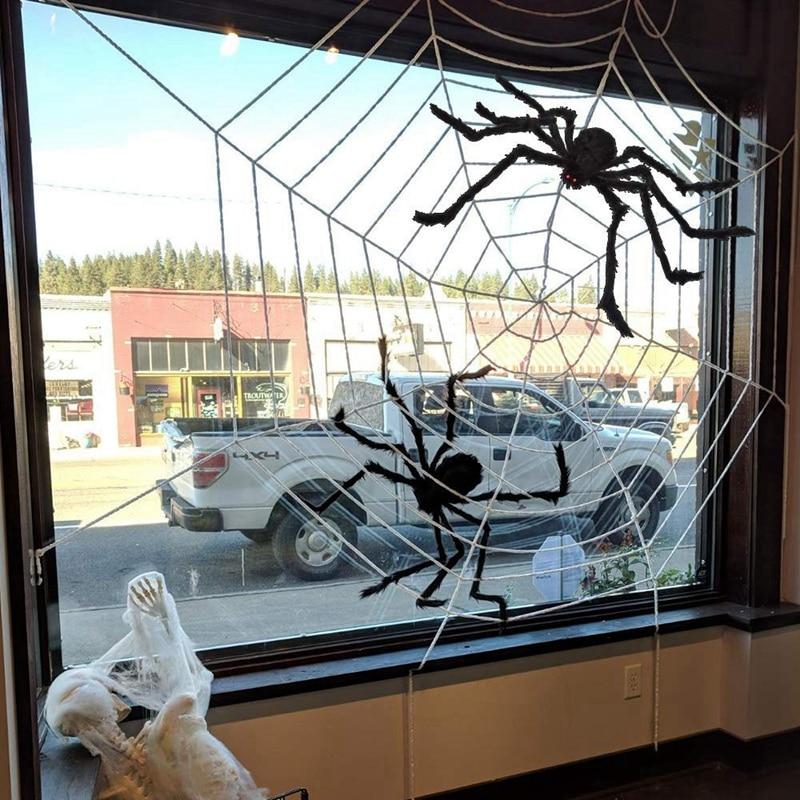 Tela de araña de Halloween SZS Hot 3 uds., decoraciones para araña de Halloween, tela de araña Mega de 142 pulgadas, tela de araña gigante de 30 pulgadas, tela de araña gigante Ind
