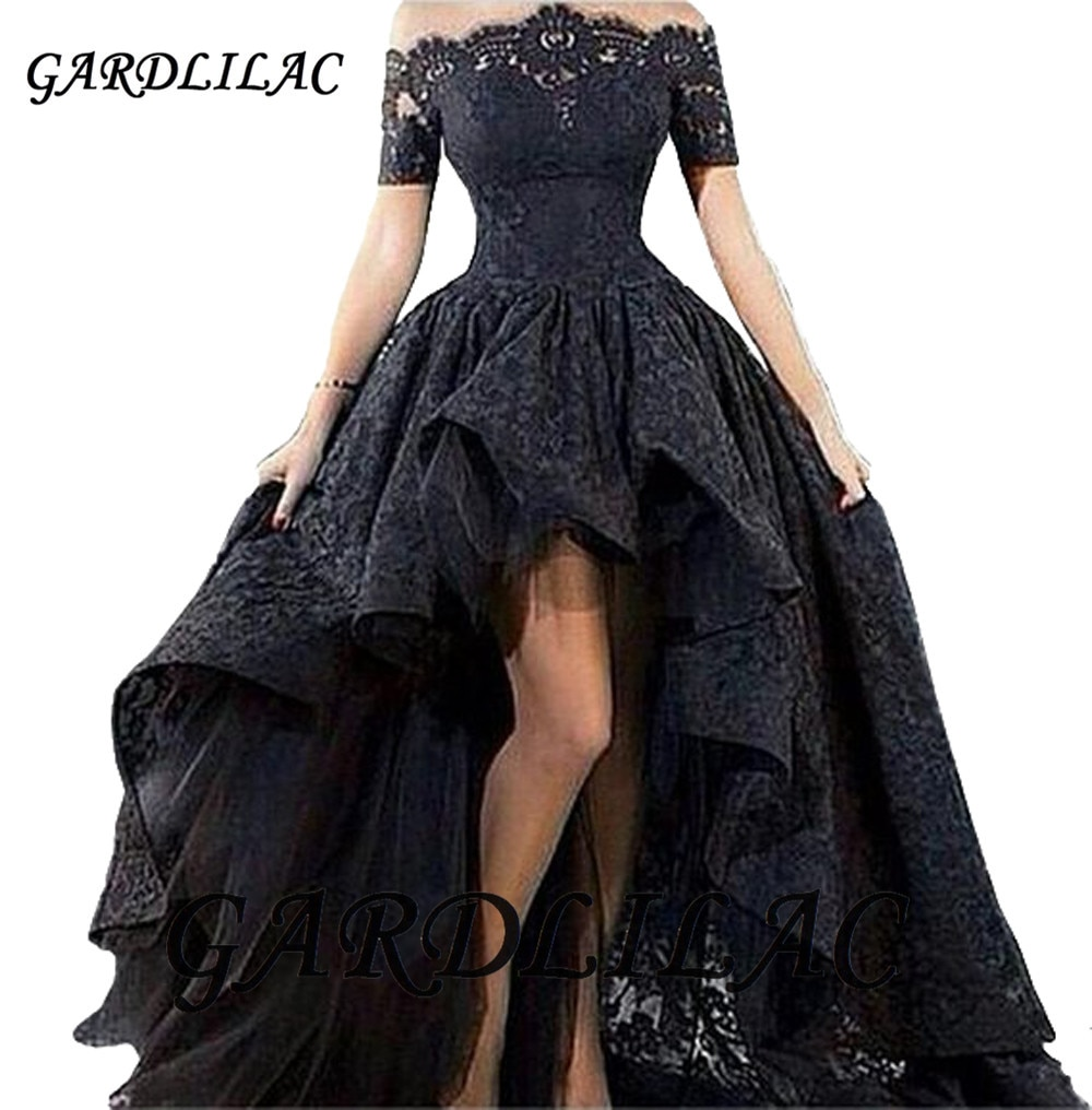 Gardlilac 2020 Off Shoulder High Low Prom Dress Lace Evening dress Wedding Pageant Formal Gowns