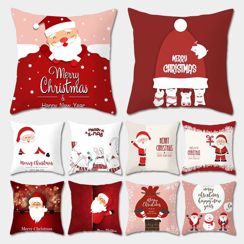 merry christmas cushion cover christmas decorations for home happy new year decor christmas ornament cotton linen pillow cover pillowcase 45cm x 45cm 45x45cm Merry Christmas Cushion Cover Pillowcase 2020 Christmas Decorations For Home Xmas Noel Ornament Happy New Year 2021