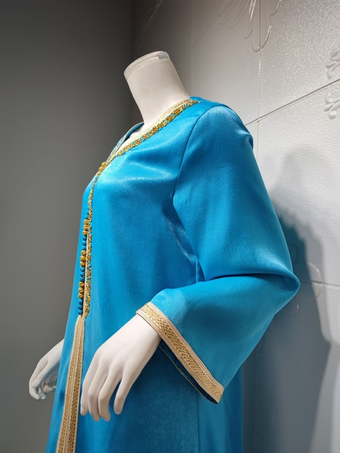 Ramadan Eid Blue Maxi Dress For Women Modest Muslim Turkey Arabic Dubai Diamond Ribbon V Neck Long Sleeve Jalabiya 2021 4
