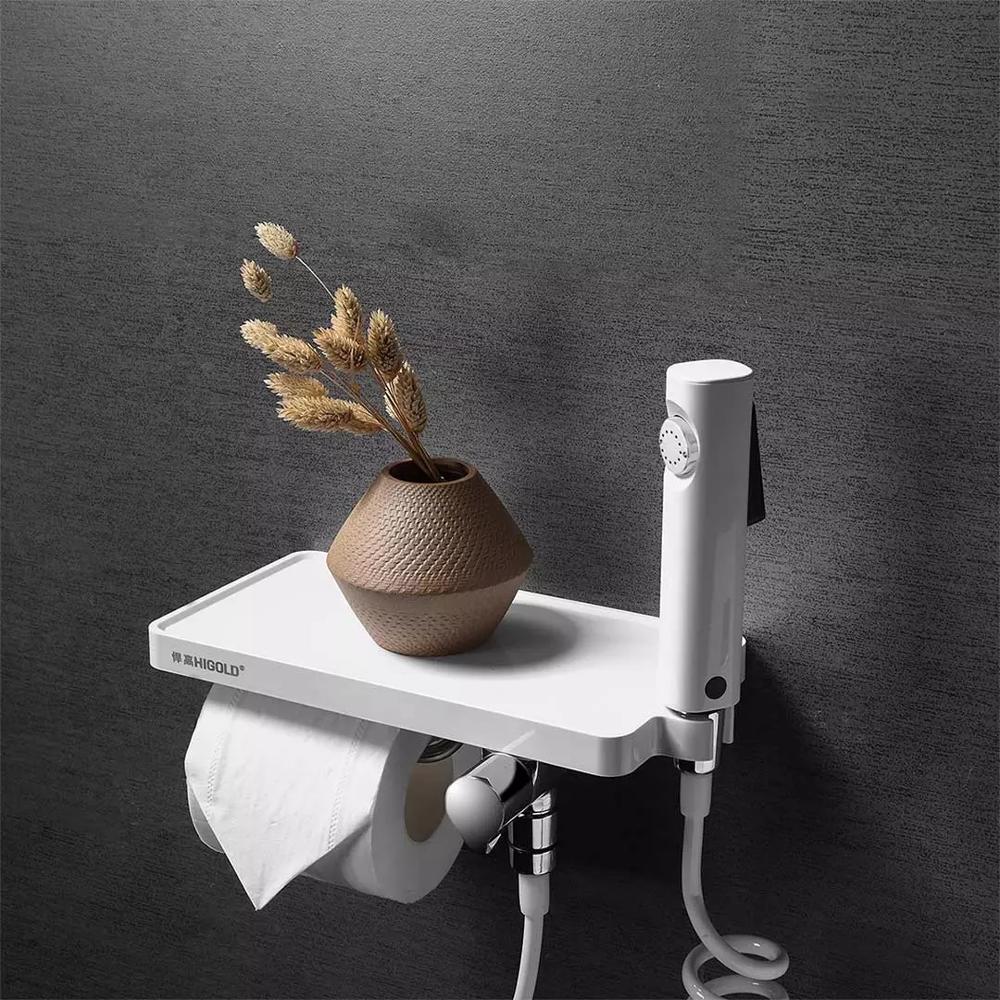 Youpin HIGODL Multifunctional Paper Towel Holder Tissue Rack Stainless Steel Hook With Mobile Phone Holder Toilet Spray Gun enlarge