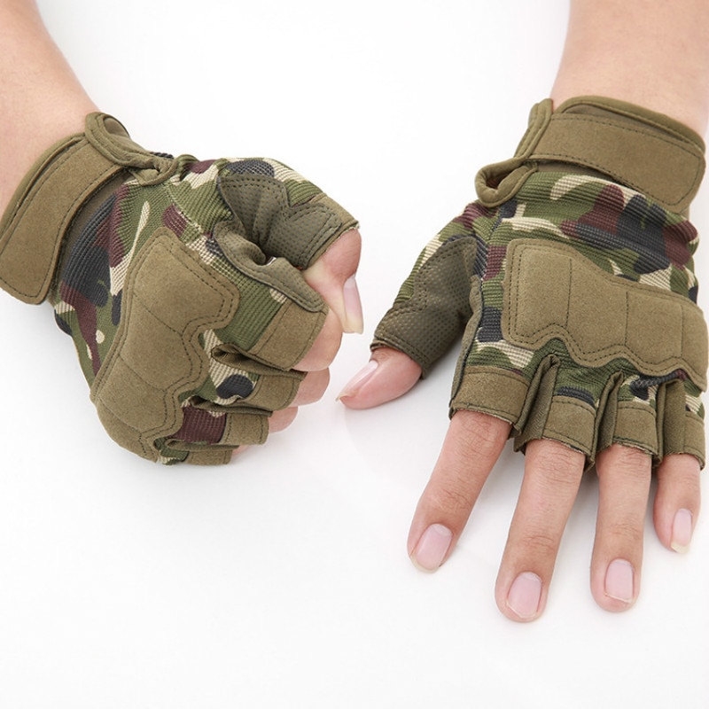 Men's Tactical Gloves Military Army Shooting Fingerless Gloves Anti-Slip Outdoor Hunting Sports Paintball Airsoft Bicycle Gloves