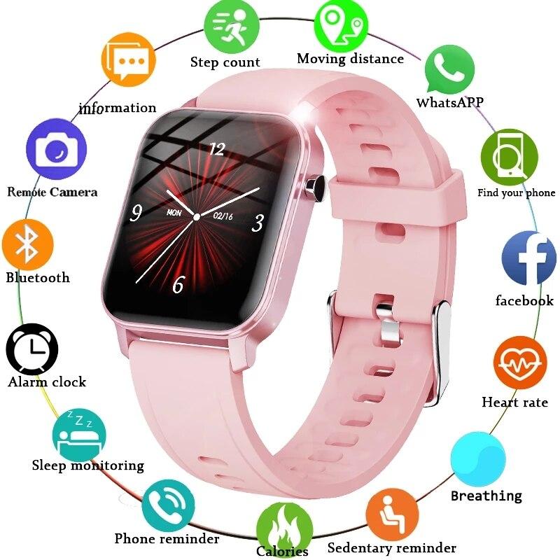 Eletrônico de Fitness Smartver para Xiaomi Gejian Menina Presente Relógio Inteligente Feminino Masculino Toque Completo Rastreador Nova Mulher Huawei