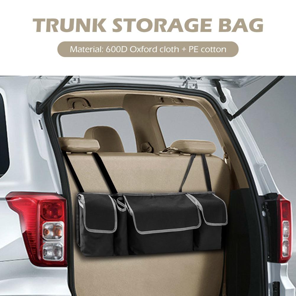 Organizador de asiento trasero de coche fabricación elaborada prolongado duradero 4 bolsillos bolsa de almacenamiento de maletero accesorios interiores