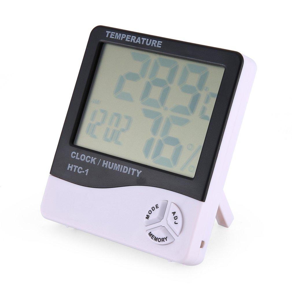 HTC-1 Термогигрометр с одной температурой большой экран бытовой электронный Термогигрометр с будильником
