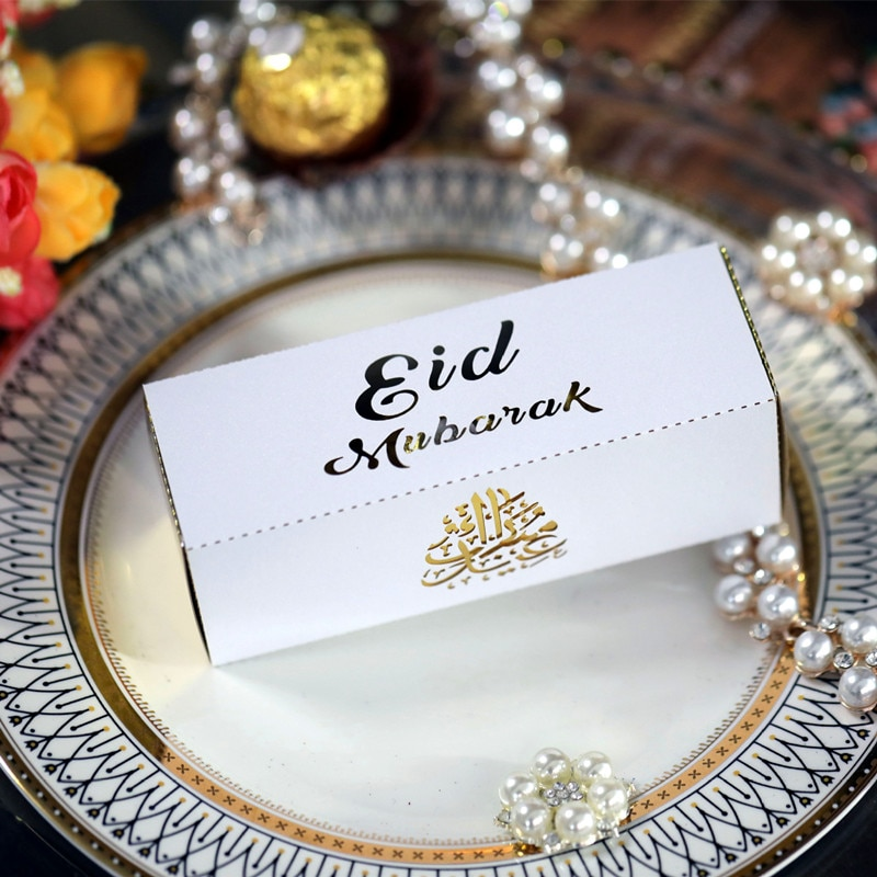 50 Uds Feliz EID Mubarak DIY láser corte hueco caramelo Cajas de Regalo decoraciones Ramadán islámica, Eid Mubarak decoración de la fiesta de caja de embalaje
