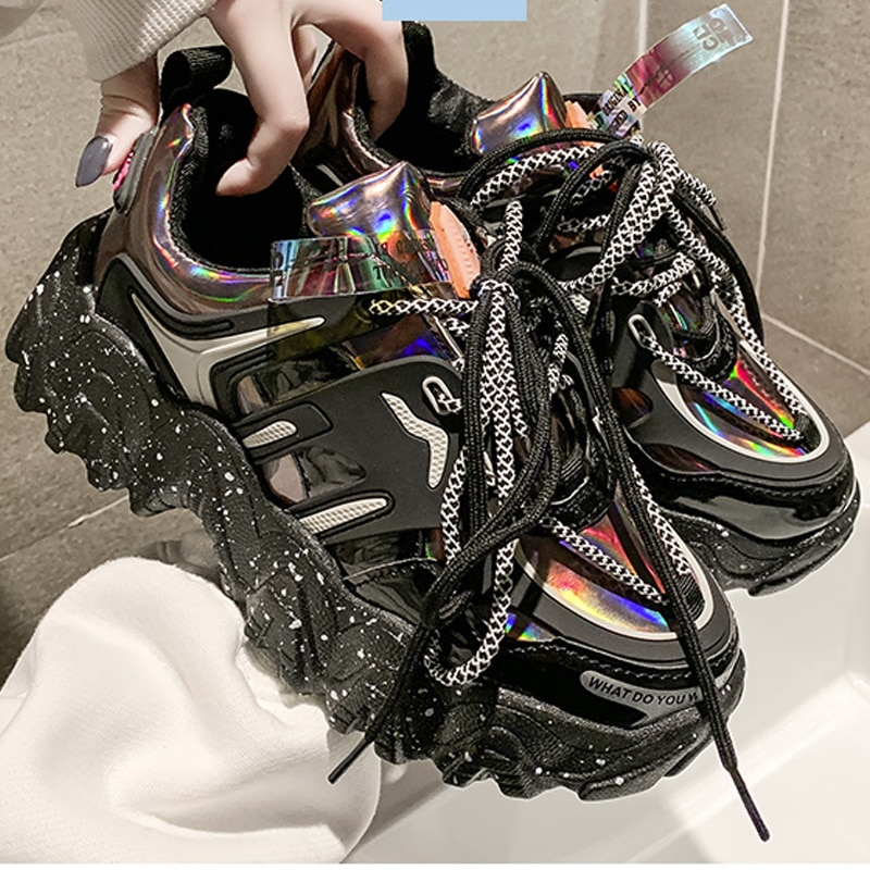 2020 New Women Shoes Black Red Trend Sneakers Ulzzang Platform Sneakers Female Trainers Comfortable Casual Shoes Women Snekaers