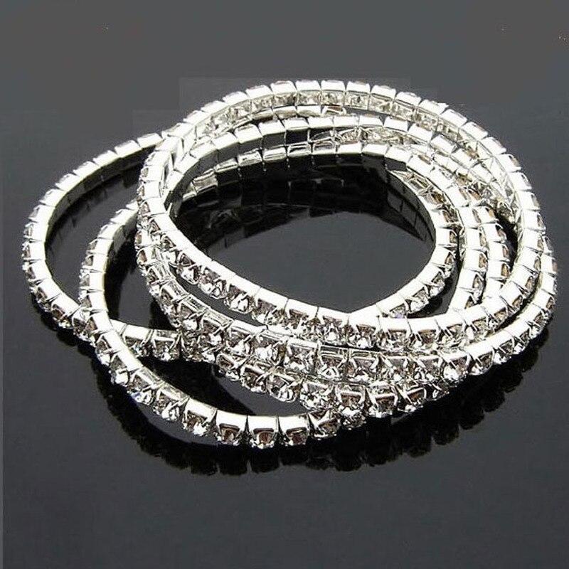 Pulsera elástica de Color plateado para boda, brazalete de joyería para novia, pulsera de cristal con estrás elástico, pulsera brillante de diamantes de imitación para mujer