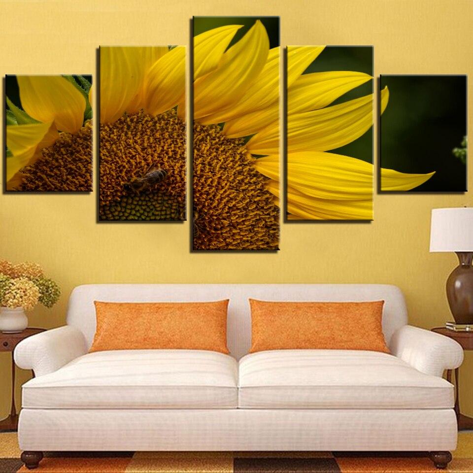 5 piezas de pósteres simples de lienzo de girasoles y pintura de...