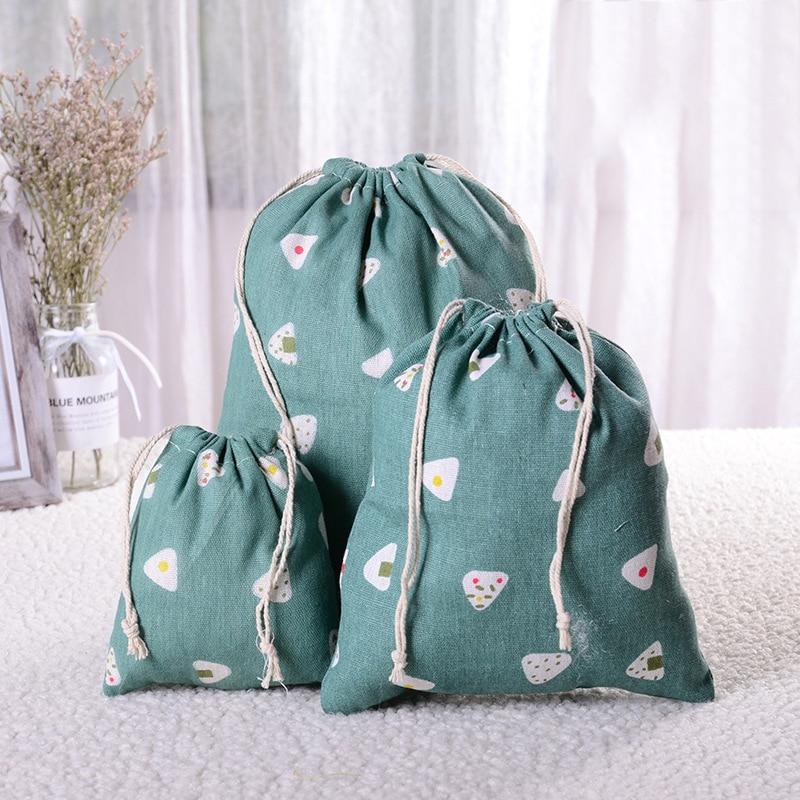 Bolsa con cordón de lino Casual Eco reutilizable portátil, bolsa de almacenamiento de viaje a prueba de polvo para mujer, bolsas organizadoras de maquillaje, bolsa de compras