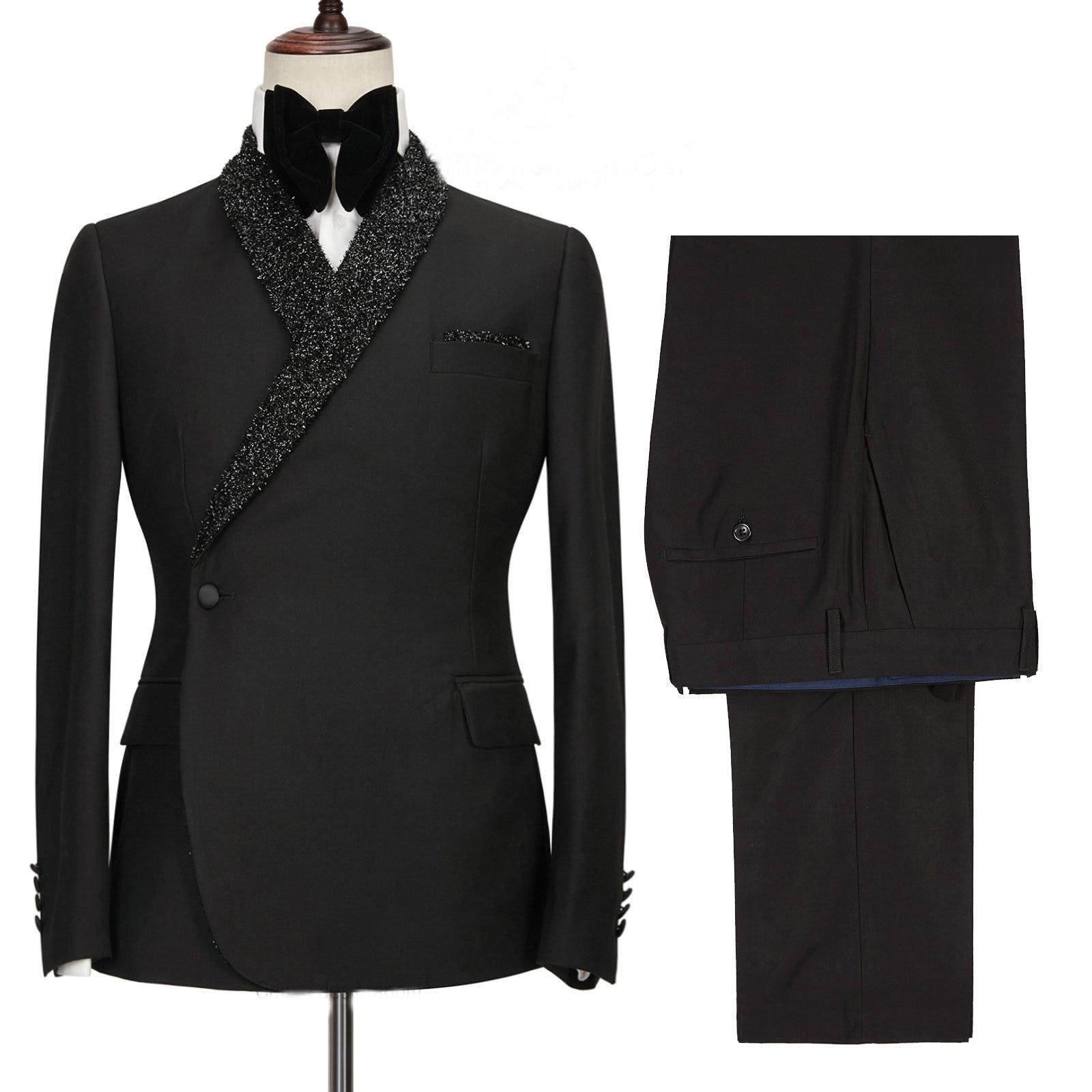 أسود بدلة رسمية الرجال مزدوجة الصدر سليم صالح 2021 جديد تصميم مخصص 2 قطعة بدلة الزفاف للرجال العريس الدعاوى سهرة