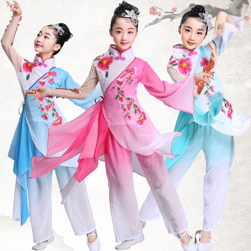 Детские Классические танцевальные костюмы ханьфу в китайском стиле, фанатские танцевальные костюмы для девочек, танцевальные костюмы Янко