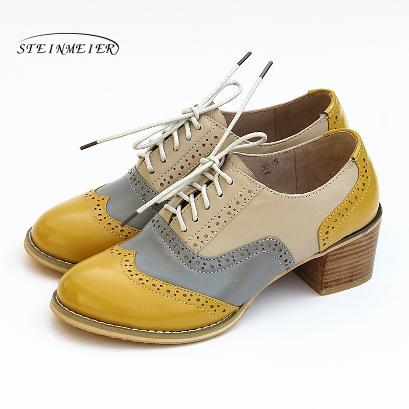 Zapatos de tacón Oxford para mujer, zapatos de piel auténtica de estilo Vintage de 5cm, zapatos Retro de tacón grueso para mujer, zapatos Oxford antiguos para mujer 2020