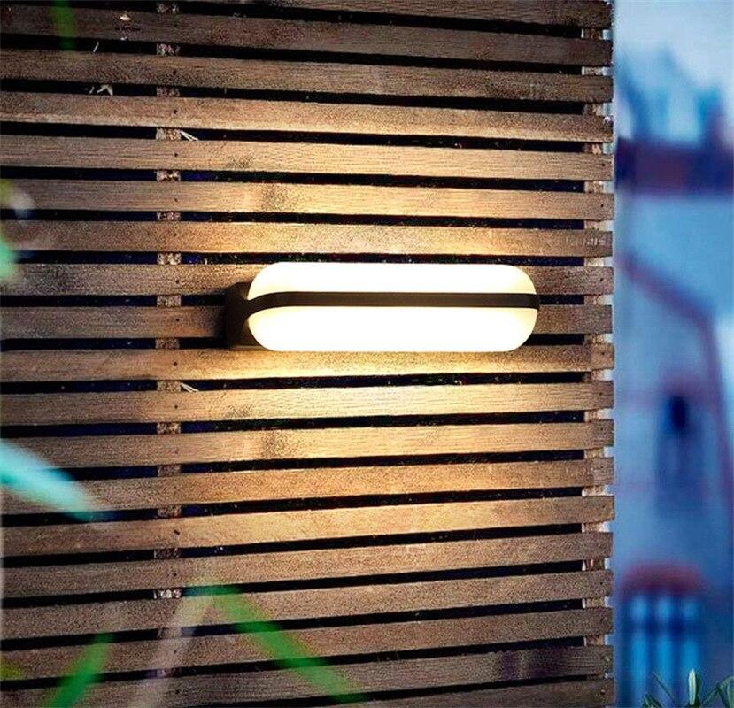 Lámpara LED de pared impermeable para exteriores, para Hotel, Villa, jardín, balcón, iluminación, patio, luces, Casa Negra