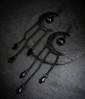 black moon earringcelestial jewelrysolar systemalternative boho gothic wiccanlunar jewelry gift for her