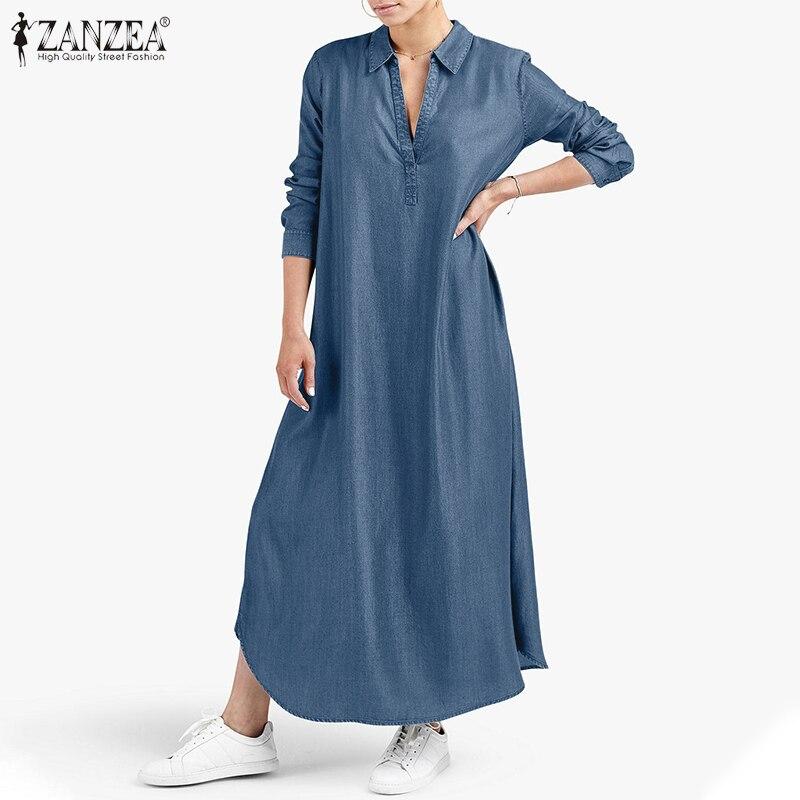 2021 ZANZEA Mode Frauen V neck Langarm Kaftan Kleid Casual Denim Blau Sommerkleid Elegante Solide Lose Lange Vetidos Femme robe