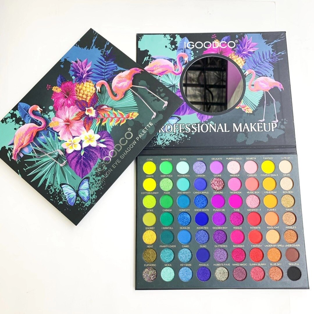 63 Colors Tropical Rainforest Pattern Pearlescent Matte Sequins Large Multicolor Eyeshadow Palette