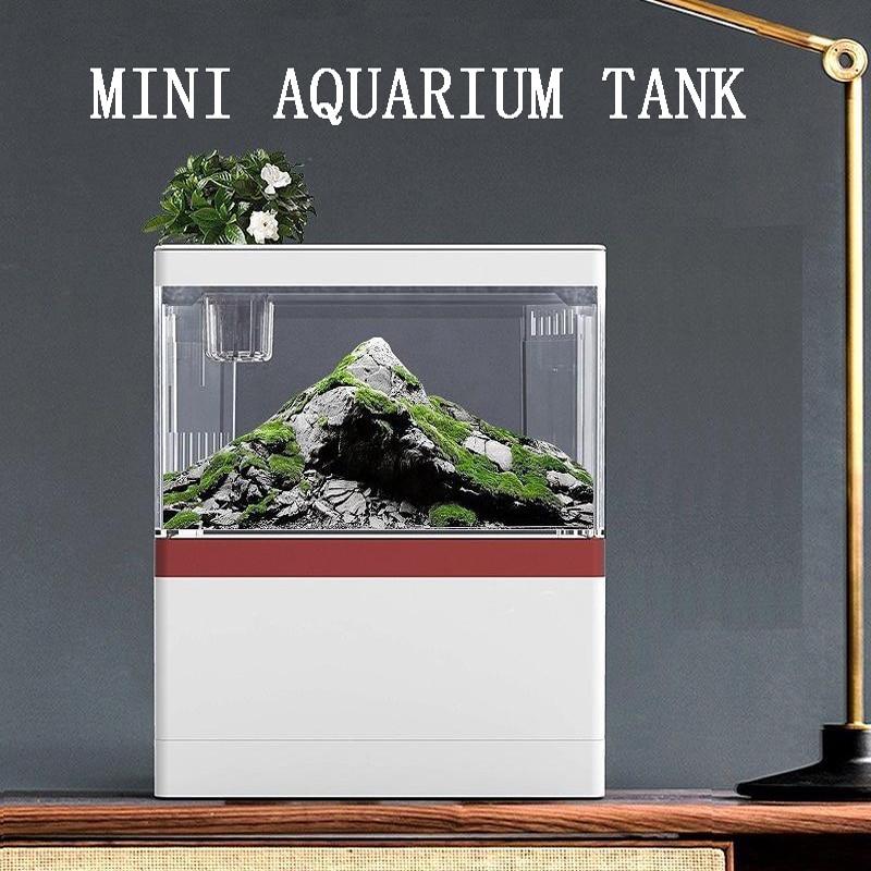 Small fish tank small desktop creative landscaping ecological tank micro landscape free water bucket fish tank mini aquarium