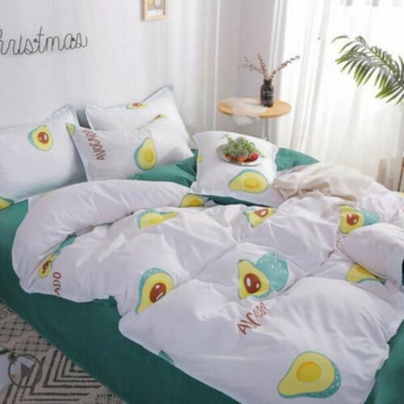 الأفوكادو الكرتون الراحة الوردي طقم سرير حاف الغطاء مجموعة غشايات السرير أربع قطع