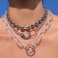 fishsheep rock puck transparent acrylic chain necklace layered big chain lock pendant necklace women men 2020 fashion jewelry