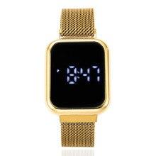 Milanese Stainless Steel Watchband LED Luxury Digital Men's Sport Watch Unisex Magnetic Buckle Women