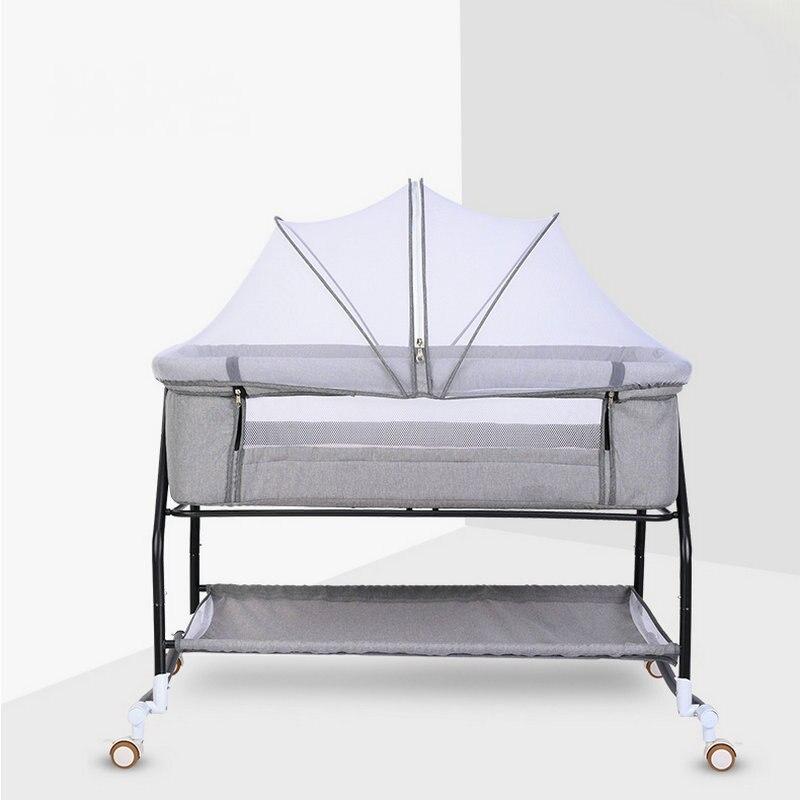 Bedside Bassinet & Sleeper, Splicing Big Bed, Movable Foldable Portable Bionic Baby Cradle Cot