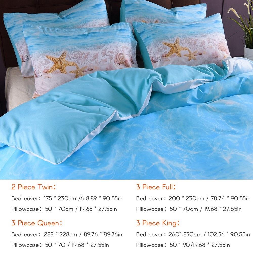 Seashells Quilted Bedspread & Pillow Shams Set, Pastel Beach Scene Print