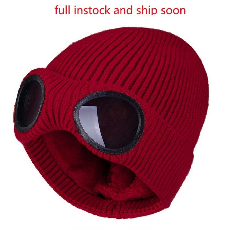 Зимние теплые вязаные шапки, новинка 2021, модные ветрозащитные Лыжные шапки унисекс для взрослых со съемными очками, утолщенные спортивные м...