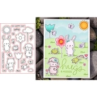 happy sheep frog kitten bunny delicate plant balloon bow spring word transparent clear stamps for diy scrapbooking cards crafts