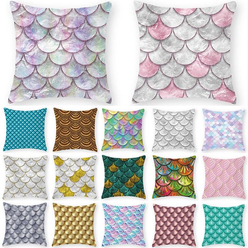 Parches de escamas de peces, funda de cojín decorativa geométrica, almohada de poliéster 45x45, almohadas para decoración de casa, almohada 40861