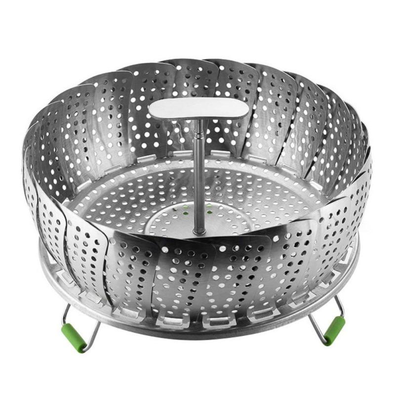 1PCS Stainless Folding Mesh Food Vegetable Egg Dish Basket Cooker Steamer Strainer Basket Cooker Bowl Kitchen Tool 11 Inches