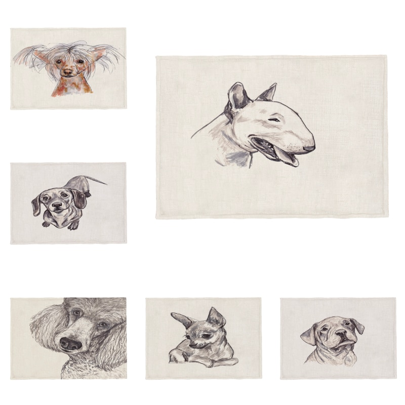 Posavasos de poliéster lavable y lino personalizables para mascotas, servilletas, manteles, manteles, perrera china, perrera, caniche, Beagle