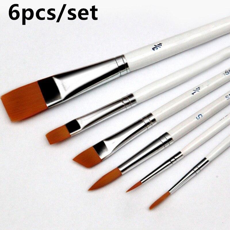 6pcs /set Painting Brush Oil Paint Nylon Hair Water Color Painting Brush Acrylics Brush Art Set Oil Painting Brushes