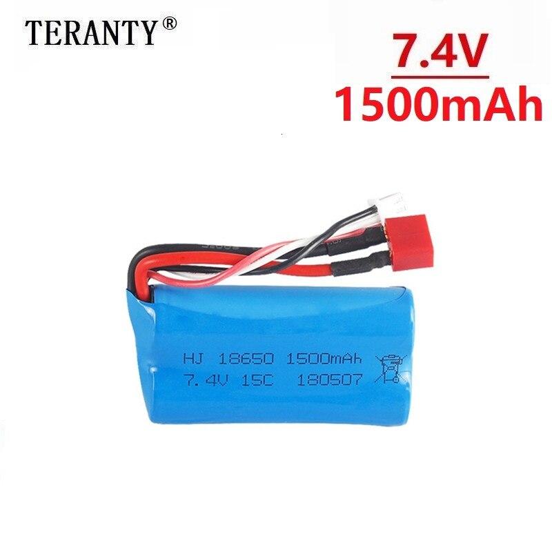 (T plug) 7.4v 1500mah lipo bateria para wltoys 12428 12401 12402 12403 12404 12423 FY-03 fy01 fy02 rc brinquedo bateria parte 18650
