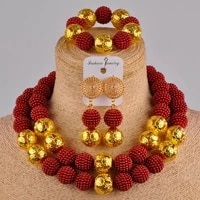 wine african jewelry set simulated pearl necklace nigerian wedding beads fzz20