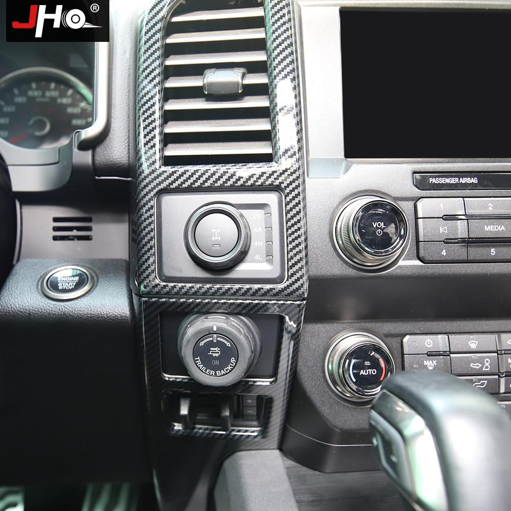 JHO Plastic Carbon Grain Navigation Panel Side Vent Overlay Cover Trim for Ford F150 2015-2020 Raptor Limited 2019 2018 Crew Cab enlarge