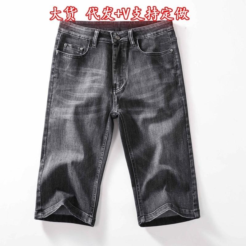 2021 summer men's denim denim straight pants, slim and simple elastic pants, slim and thin