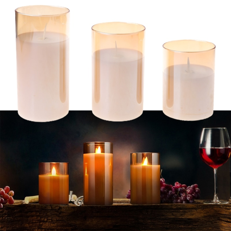 2021 New 3pack Flameless Led Candles Flickering Timer Remote Fake Wick Moving Flame Faux
