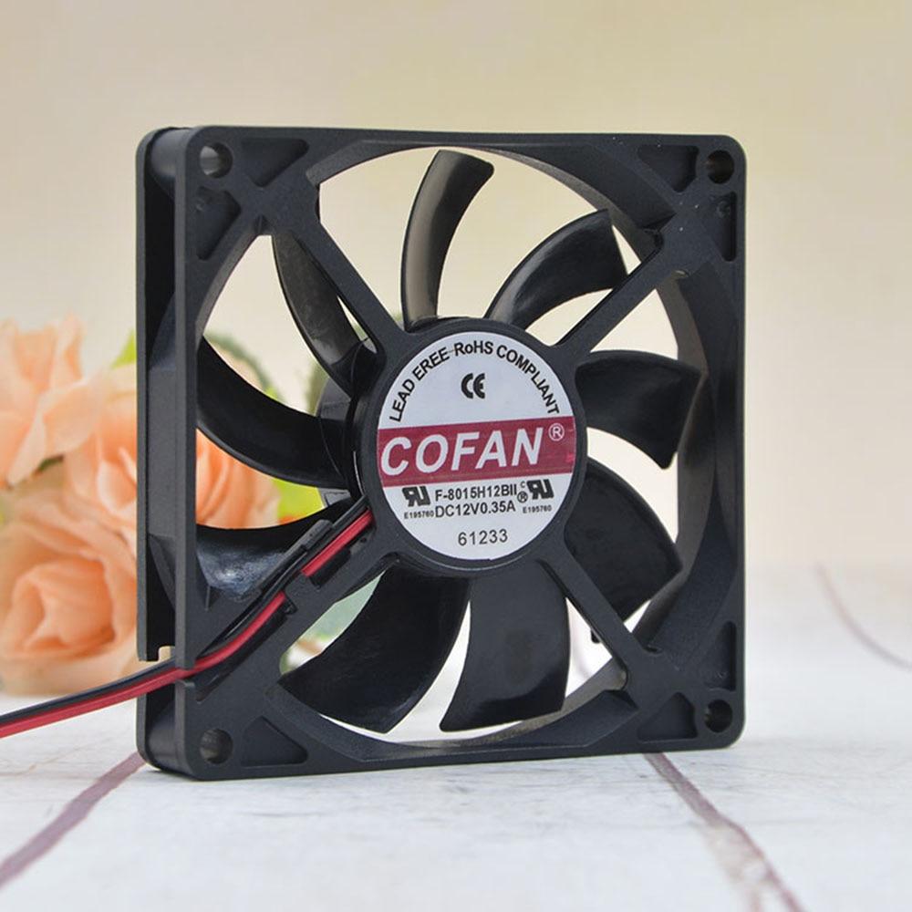 1pcs COFAN Ultra-thin Chassis Large Air Volume Fan F-8015H12BII 12V 0.35A 8cm Cooling Fan Cooler Accessories